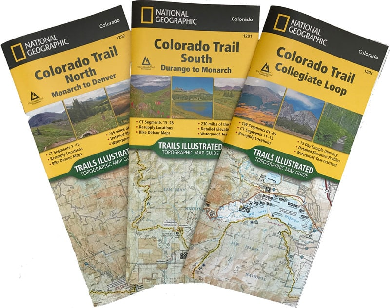 All three National Geographic maps of the Colorado Trail