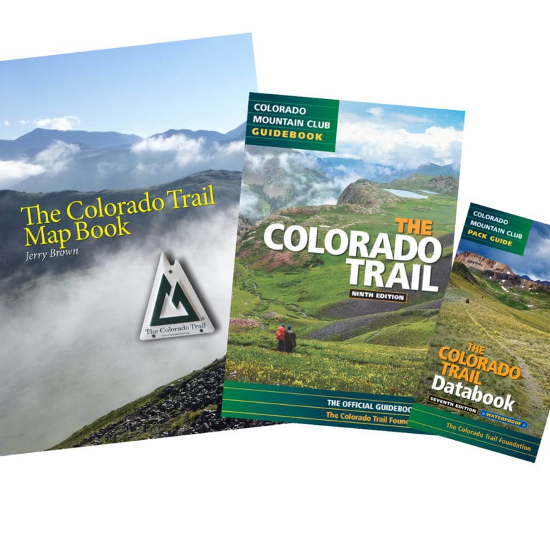 Covers of three books: CO Trail Map Book, CO Trail Guidebook, CO Trail Databook
