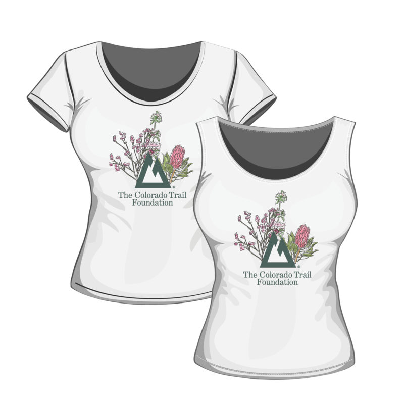front and back images of Mountain-Flowers T-shirt