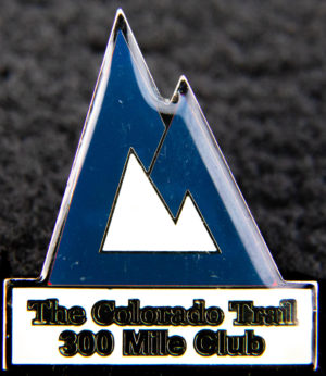 "blue pine labeled ""The Colorado Trail 300 Mile Club"""