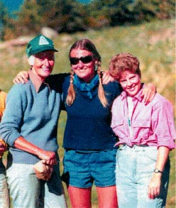 Gudy Gaskill, Polly Gaskill, and Denise Wright at Molas Lake in 1987.