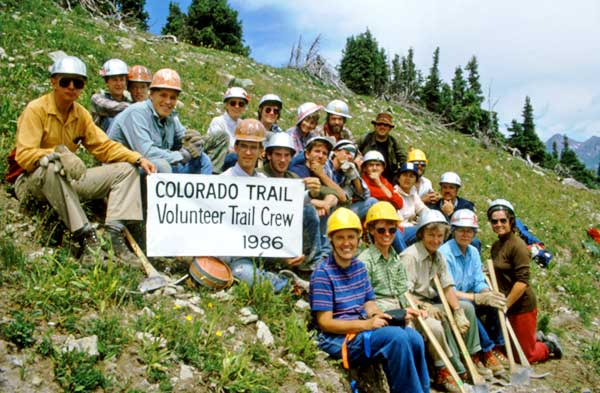1986 volunteer trail crew at Hotel Draw between Silverton and Durango