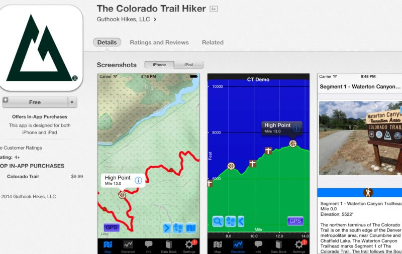 "Phone app for The Colorado Trail by Atlas ""Guthook"" Guides."
