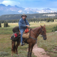 horseback rider and mountain landscape