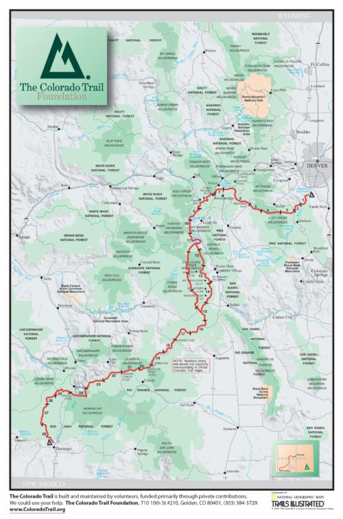 Map of Colorado Trail with segments, national forests, and cities