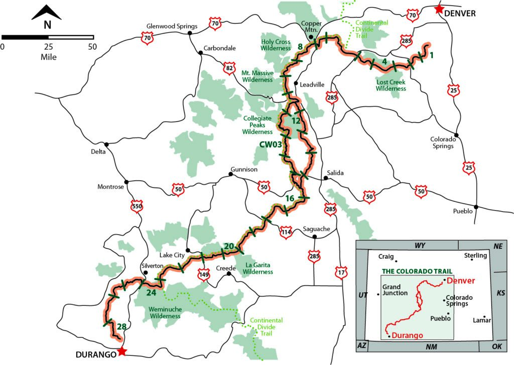 Map showing segments of The Colorado Trail