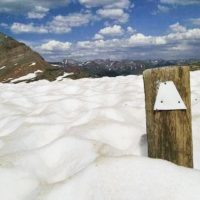 Trail marker nearly engulfed in snow.