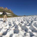 hiker in sastrugi snow