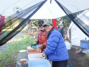 washing dishes in tent