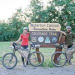 Cyclists at Waterton Canyon sign