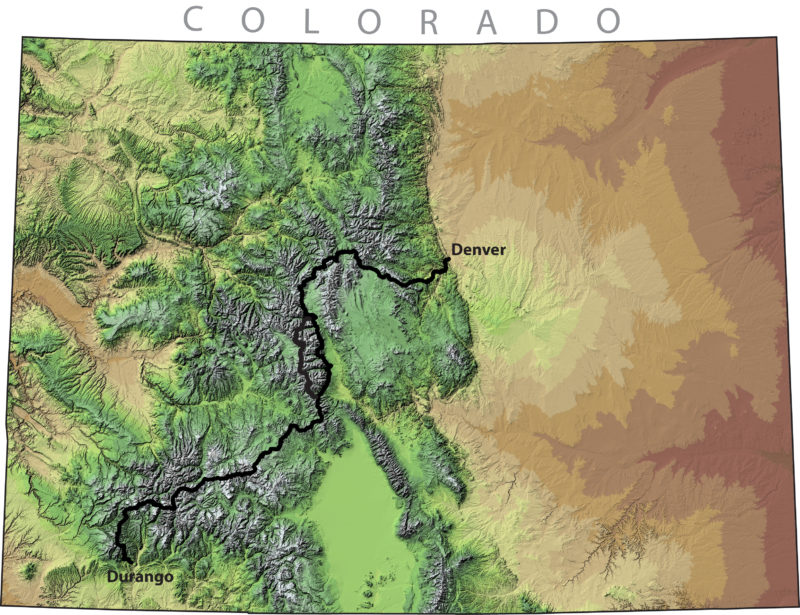Colorado Trail locator map as topographic relief