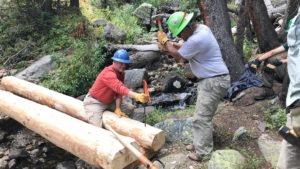 Men pound rebar into stringer log for new bridge.