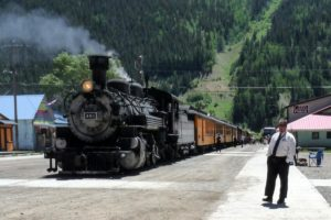 Durango and Silverton steam train in Silverton