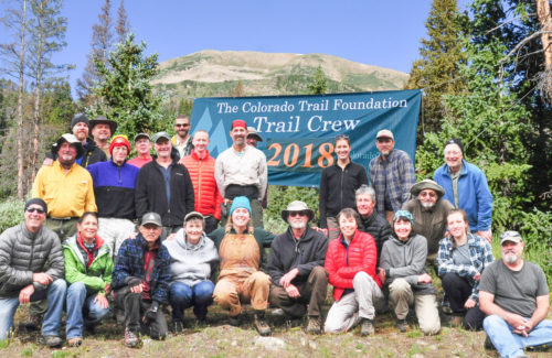 Trail crew group photo with CTF 2018 banner
