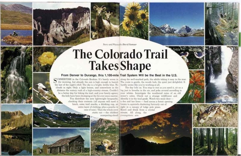 1974 Colorado Magazine article entitled The Colorado Trail takes shape.