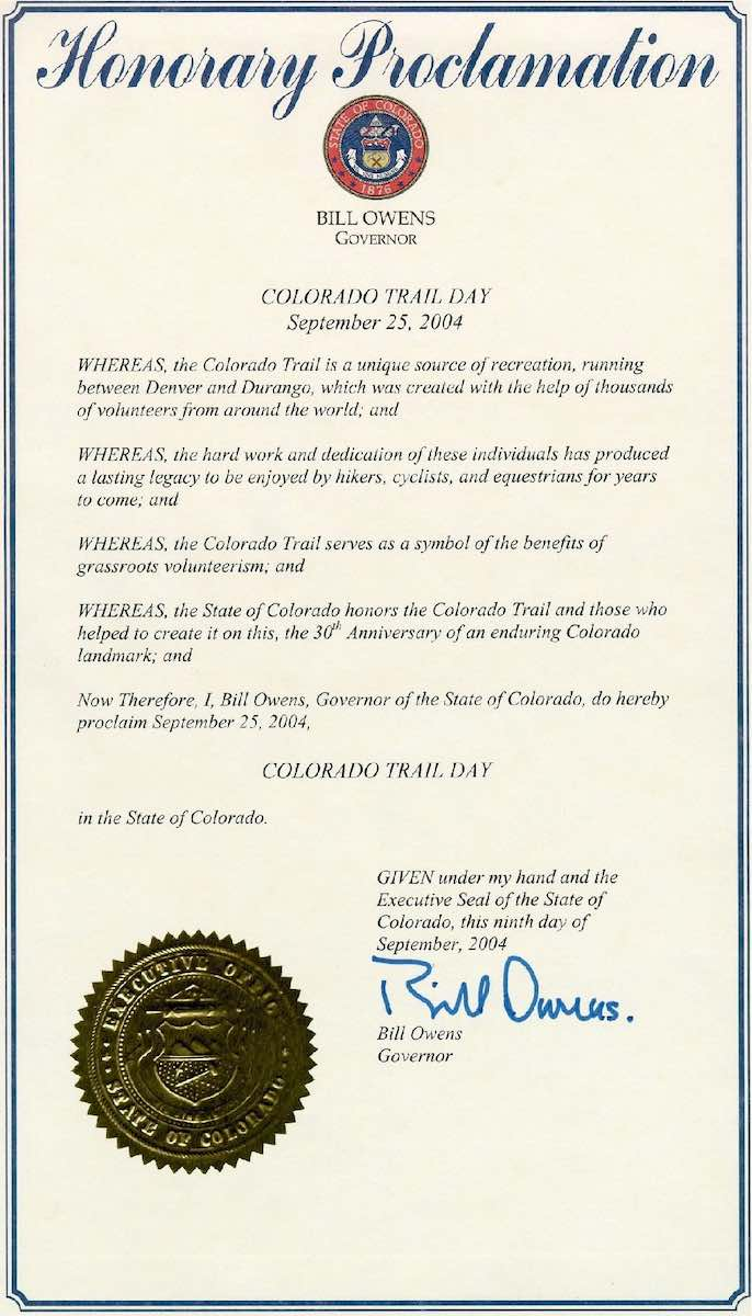 2004 Governor's Proclamation establishing Colorado Trail Day.