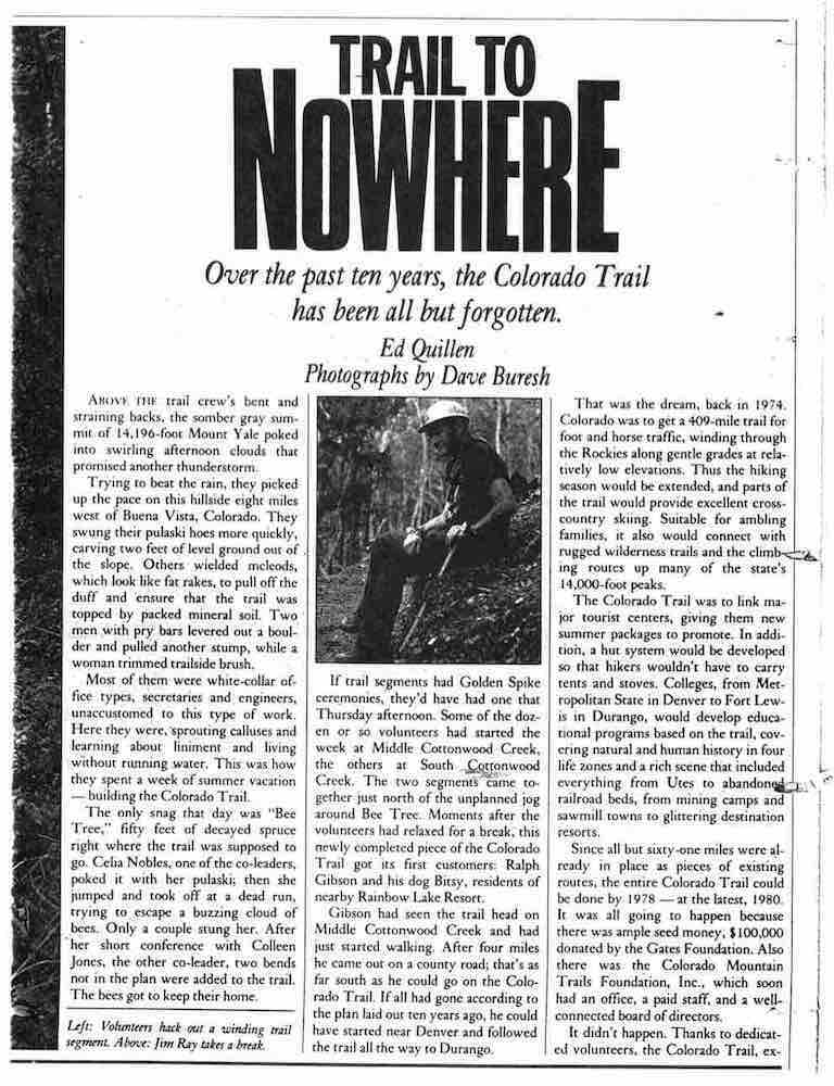 """Trail To Nowhere"" article in 1984 described trail builders' challenges."