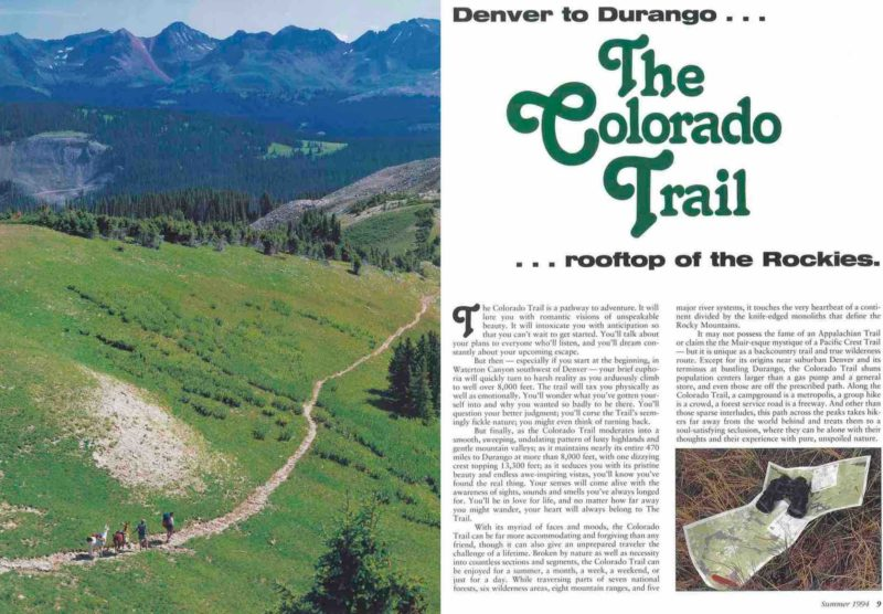 "1994 ""Colorado"" magazine article (page 1) extolling The Colorado Trail"