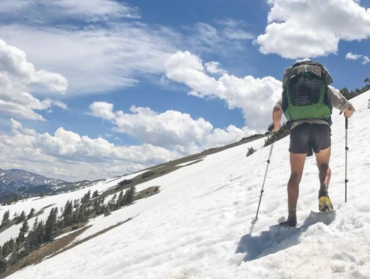 Remaining snowpack challenges and slows a thru-hike.