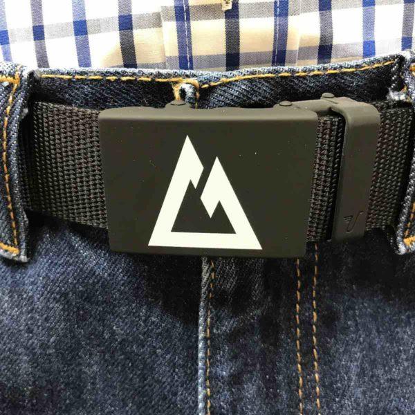 "Custom Colorado Trail Belt, white logo on matte black buckle with ""stealth"" black nylon strap."