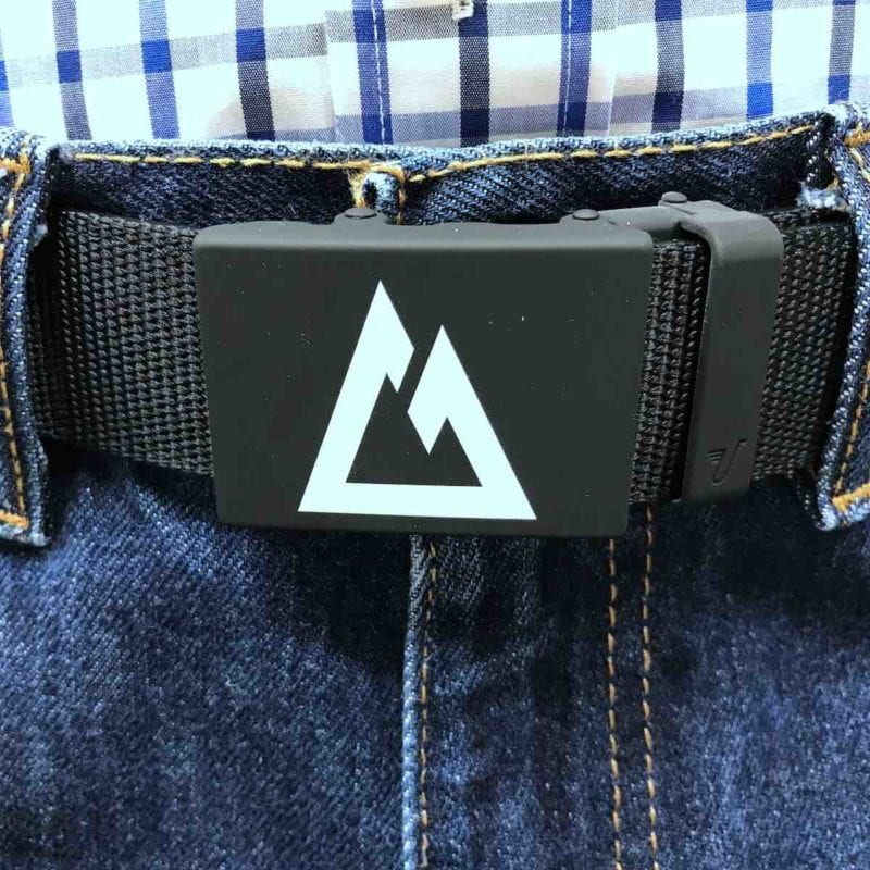"Custom Colorado Trail Belt, white logo on matte black buckle with ""stealth"" black nylon strap."
