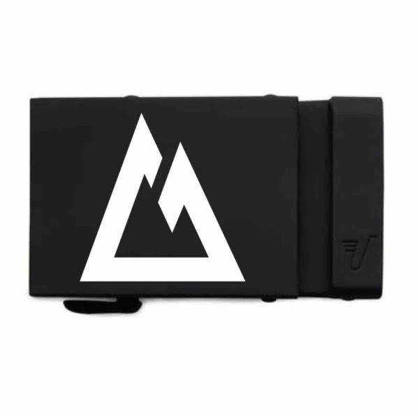Custom CT-logo belt buckle, matte black with white.