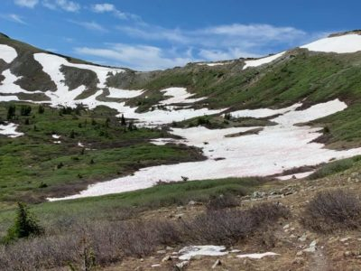 Approaching Cottonwood Pass in CW02, some snowpack remains. Photo thanks to Jim Collins.