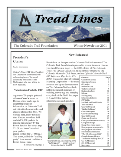 Front page of CTF newsletter