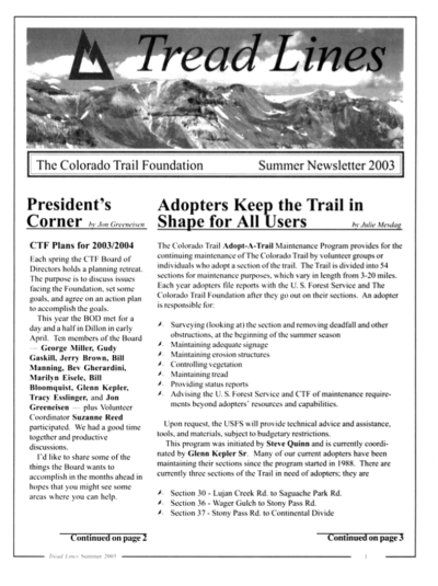 front page of CTF Tread Lines newsletter