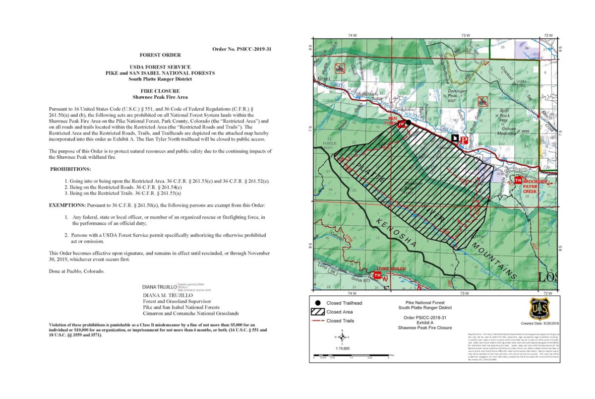 Shawnee Peak Fire area closure notice is issued August 29 by USFS. Closed area does not affect the CT and is a couple miles north of CT Segs 4 and 5.