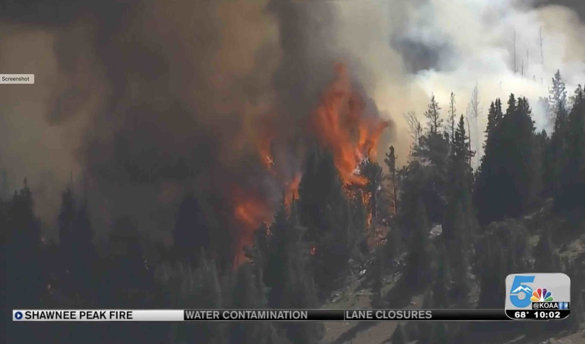 Shawnee Peak Fire began Aug 26th near CT Segments 4 and 5. Photo thanks to KOAA News5.