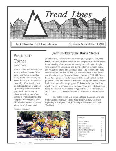 Front Page of The CTF Newsletter