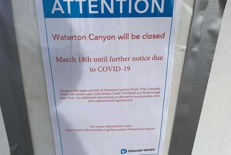 Waterton Canyon closure began March 18, 2020 due to COVID-19
