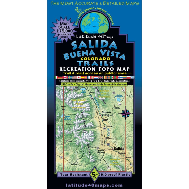 """Map by Latitude 40º """"Salida Buena Vista"""" folds out and covers the entire CT Collegiate Loop plus 14 of the 14ers"""